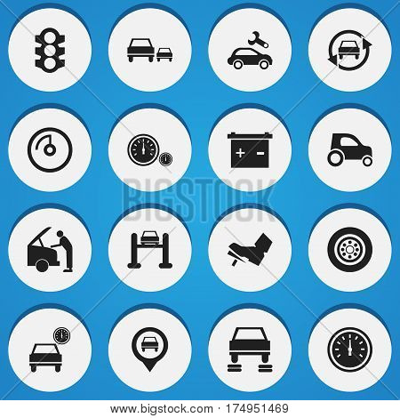 Set Of 16 Editable Transport Icons. Includes Symbols Such As Stoplight, Automotive Fix, Tire And More. Can Be Used For Web, Mobile, UI And Infographic Design.