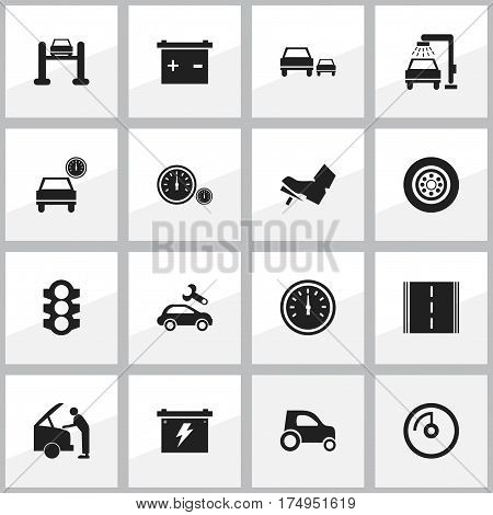 Set Of 16 Editable Traffic Icons. Includes Symbols Such As Speed Display, Battery, Treadle And More. Can Be Used For Web, Mobile, UI And Infographic Design.