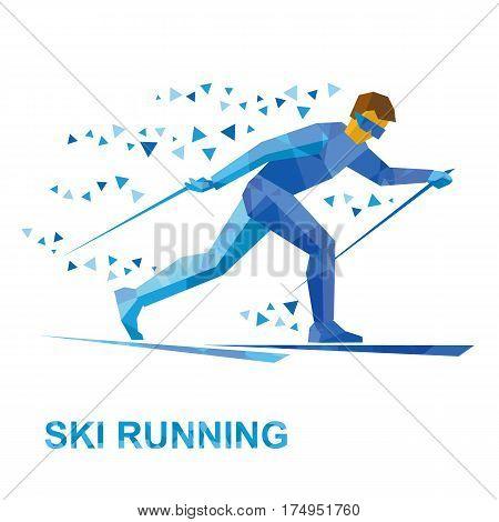 Winter Sports - Skiing. Cartoon Skier Running.
