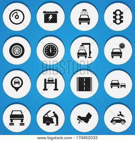 Set Of 16 Editable Traffic Icons. Includes Symbols Such As Highway, Stoplight, Speed Display And More. Can Be Used For Web, Mobile, UI And Infographic Design.