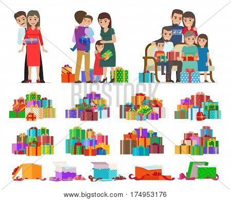 Set of colourful pictures with cartoon people celebrating New Year and giving present boxes to each other. Vector poster of groups of decorated variegated xmas cases with ribbons and opened boxes