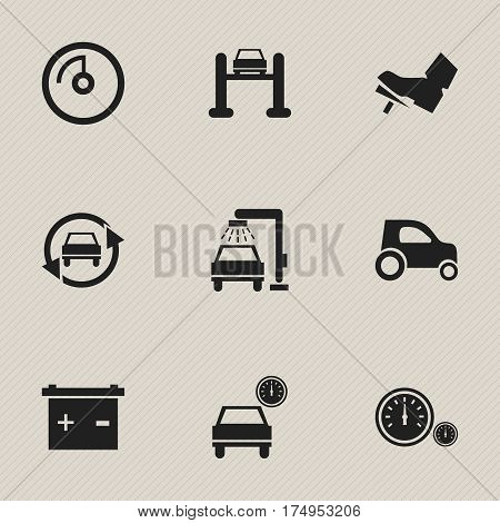Set Of 9 Editable Vehicle Icons. Includes Symbols Such As Treadle, Automobile, Accumulator And More. Can Be Used For Web, Mobile, UI And Infographic Design.