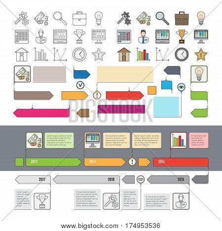 Set of timeline icons with infographic diagrams and steps years ago isolated. Colorful and colorless web icons, evolution of devices for investigations, info empty pointers vector illustration