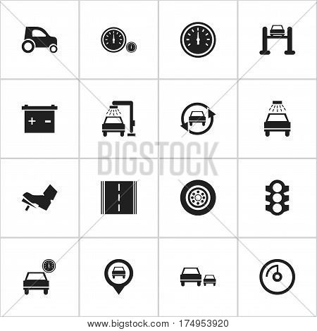 Set Of 16 Editable Car Icons. Includes Symbols Such As Accumulator, Speed Control, Treadle And More. Can Be Used For Web, Mobile, UI And Infographic Design.