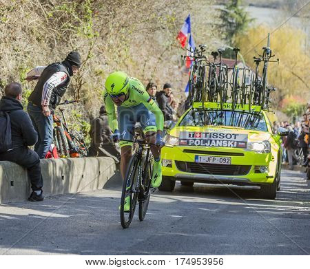 Conflans-Sainte-HonorineFrance-March 62016: The Polish cyclist Pawel Poljanski of Tinkoff Team riding during the prologue stage of Paris-Nice 2016.