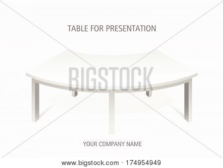 White vector 3d platform, semicircular table. Template for presentation of goods.
