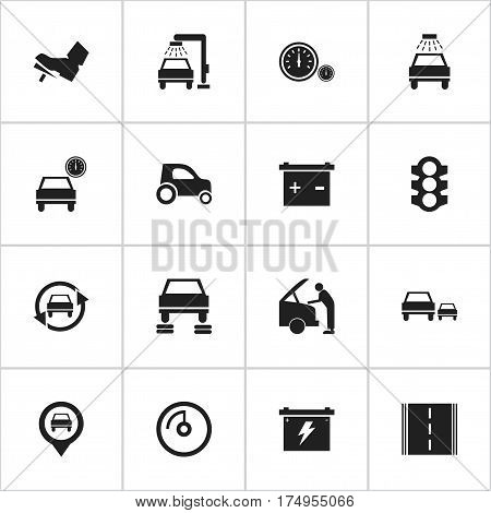 Set Of 16 Editable Car Icons. Includes Symbols Such As Stoplight, Pointer, Tuning Auto And More. Can Be Used For Web, Mobile, UI And Infographic Design.