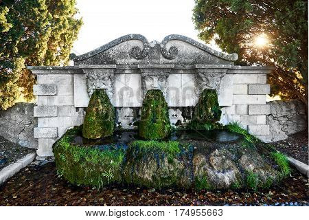 Lourmarin fountain. Listed as the most beautiful villages of France. Provence-Alpes-Cote d'Azur.