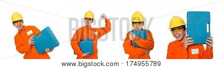 Man in orange coveralls isolated on white