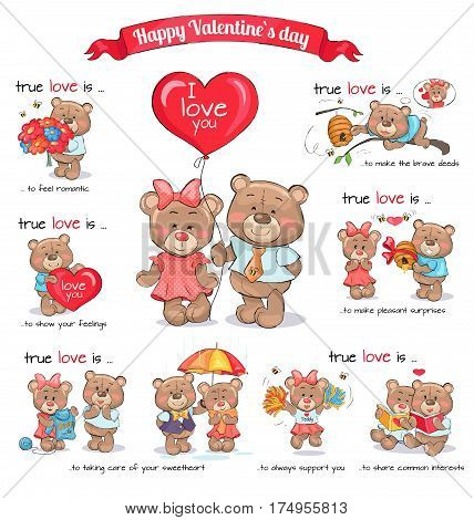 In love teddy bears celebrate happy Valentine s Day. Vector illustration of explanation of true love between couples. Shown confession in feelings, making brave deeds and surprise, sharing interests