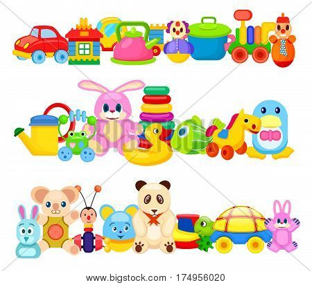 Set of colourful children toys on white background. Vector illustration of rubber, plastic and soft playthings such as teddy bear, transport, various animals and water creatures and educational toys.