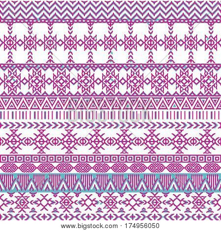 Ethnic seamless pattern with triangle and abstract geometric ornament. Hand drawn tribal background texture. Native american navajo aztec pattern. Vector illustration hipster background.