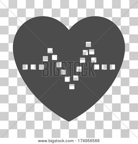 Heart Pulse icon. Vector illustration style is flat iconic symbol, gray color, transparent background. Designed for web and software interfaces.