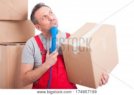 Mover Man Holding Telephone Receiver Looking For Idea