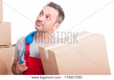Bored Mover Guy Holding Box And Telephone Receiver