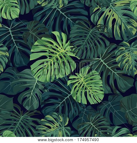 Seamless tropical pattern with green monstera plam leaves on dark background. Exotic hawaiian fabric design. Vector illustration.