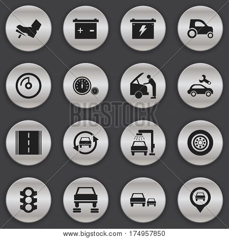 Set Of 16 Editable Traffic Icons. Includes Symbols Such As Accumulator, Stoplight, Vehicle Car And More. Can Be Used For Web, Mobile, UI And Infographic Design.