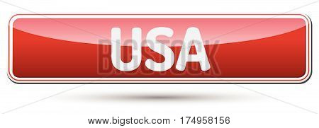 Usa - Abstract Beautiful Button With Text.