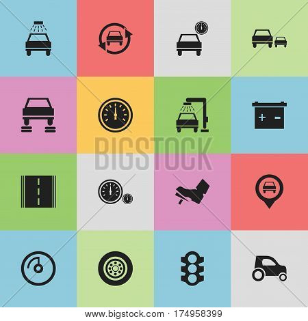 Set Of 16 Editable Traffic Icons. Includes Symbols Such As Tire, Accumulator, Car Lave And More. Can Be Used For Web, Mobile, UI And Infographic Design.