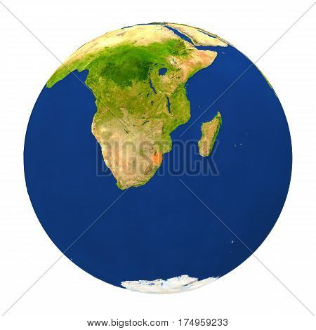 Swaziland Highlighted On Earth