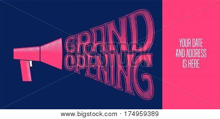 Grand opening vector illustration with mouthpiece and lettering. Template design element for opening ceremony can be used of banner or flyer