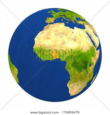 Togo Highlighted On Earth