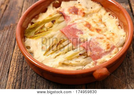 baked chicory with cream and ham