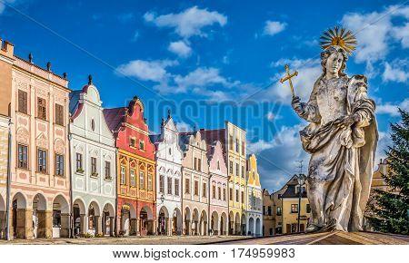 Famous Town Square Of Telc, Czech Republic