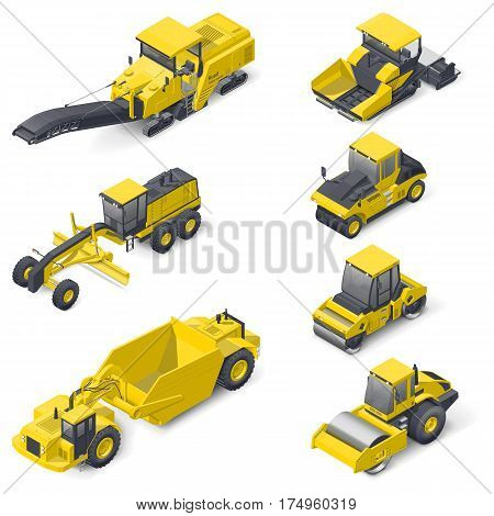 Transport for laying and repair of asphalt isometric icon set vector graphic illustration