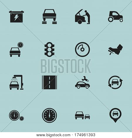 Set Of 16 Editable Vehicle Icons. Includes Symbols Such As Battery, Stoplight, Automobile And More. Can Be Used For Web, Mobile, UI And Infographic Design.