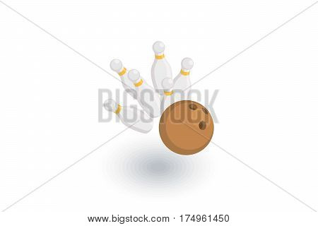 strike shot, spare, bowling ball isometric flat icon. 3d vector colorful illustration. Pictogram isolated on white background