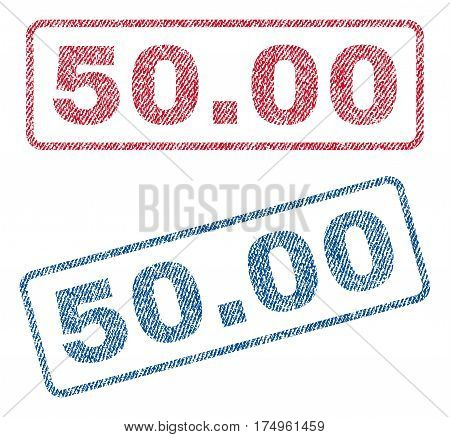 50.00 text textile seal stamp watermarks. Blue red fabric vectorized texture. Vector tag inside rounded rectangular shape. Rubber sign with fiber textile structure.