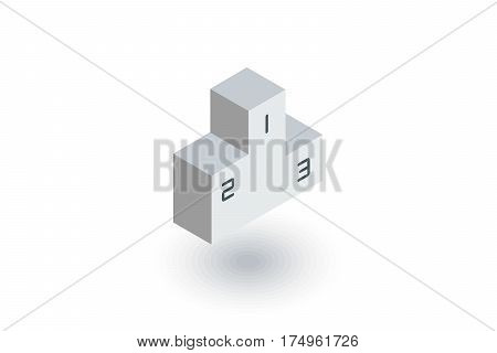Empty Winners Podium, First, Second, Third Place, Award Ceremony isometric flat icon. 3d vector colorful illustration. Pictogram isolated on white background