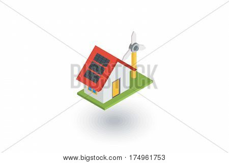 Green House concept ecological equipment - solar cells and wind turbine isometric flat icon. 3d vector colorful illustration. Pictogram isolated on white background
