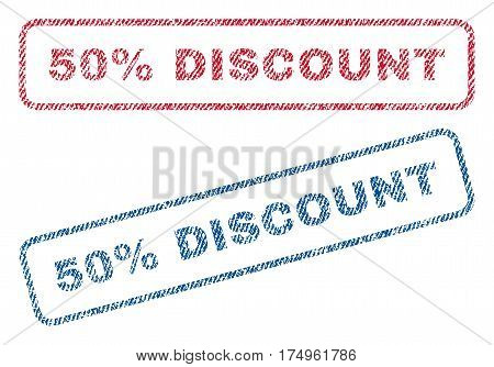 50 Percent Discount text textile seal stamp watermarks. Blue red fabric vectorized texture. Vector tag inside rounded rectangular shape. Rubber emblem with fiber textile structure.