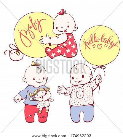 Cute cartoon baby boys and girls with a doll and balloons isolated on background. Vector set.
