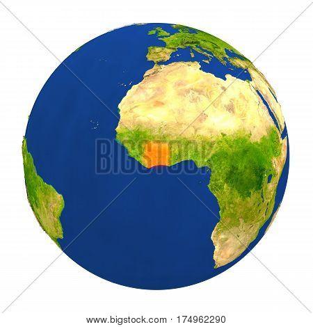 Ivory Coast Highlighted On Earth