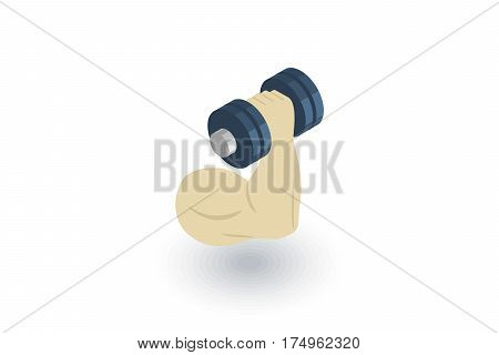 hand biceps muscles sport isometric flat icon. 3d vector colorful illustration. Pictogram isolated on white background