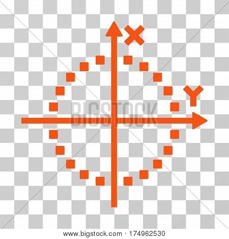 Circle Plot icon. Vector illustration style is flat iconic symbol, orange color, transparent background. Designed for web and software interfaces.