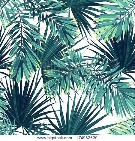 Tropical background with jungle plants. Seamless tropical pattern with green phoenix palm leaves. Vector illustration.