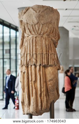 ATHENS GREECE - DECEMBER 30 2016: Statue of Athena in Acropolis museum.