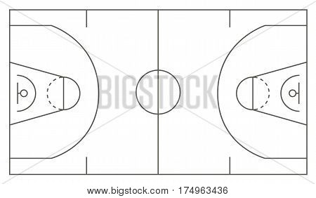 Standard Basketball court markup illustration. Vector illustration