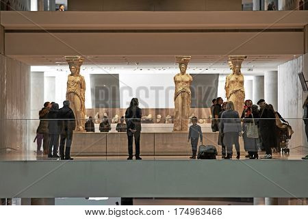 ATHENS GREECE - DECEMBER 30 2016: Interior view of the Acropolis museum in Athens with crowd.
