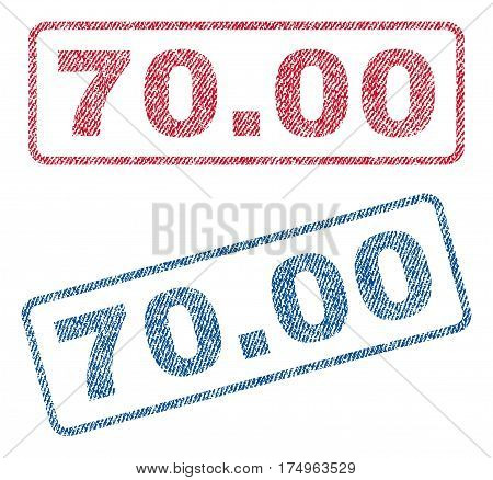 70.00 text textile seal stamp watermarks. Blue red fabric vectorized texture. Vector caption inside rounded rectangular shape. Rubber sign with fiber textile structure.