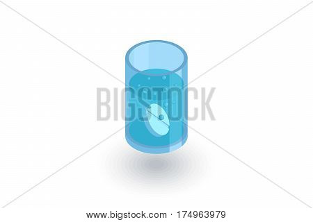 asperin pill, glass of water isometric flat icon. 3d vector colorful illustration. Pictogram isolated on white background