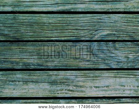 Teal wood background. Natural wood texture with horizontal lines. Wooden background for banner. Timber texture closeup. Horizontal wooden planks of floor backdrop photo. Natural material for banner