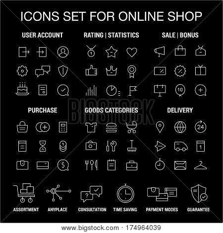 Icons set for online shop. Thin lines. White on black.