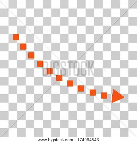 Dotted Decline Trend icon. Vector illustration style is flat iconic symbol, orange color, transparent background. Designed for web and software interfaces.