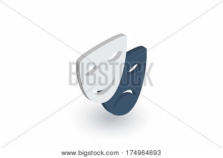 Theatre mask isometric flat icon. 3d vector colorful illustration. Pictogram isolated on white background