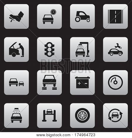 Set Of 16 Editable Transport Icons. Includes Symbols Such As Automotive Fix, Speed Display, Treadle And More. Can Be Used For Web, Mobile, UI And Infographic Design.